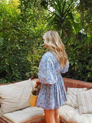 Vestido Estampado Azul Popeline