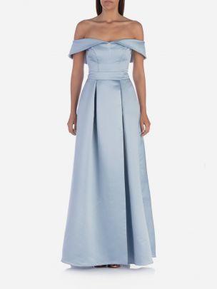 Vestido Longo Ombros Descobertos Azul Claro