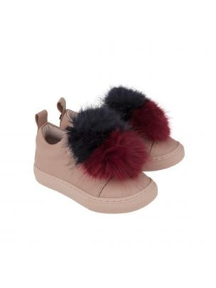 Baby and girl's sneakers in pale pink leather with dark red and black faux fur applique