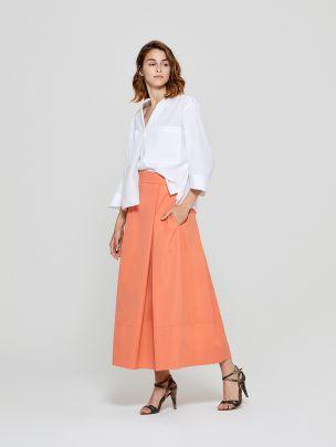Saia Laranja com Pregas | A-line Clothing