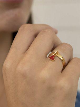Anel Color Heart Dourado