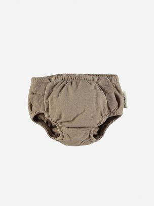 """High Waisted Shorties Taupe """"Palm d'or"""" White Print on Back"""