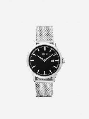 Silver Watch Positano Mesh Black | Dicci