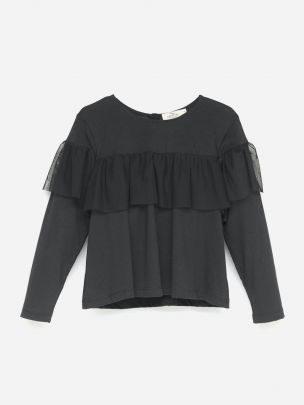 Frilled Tule Top Black