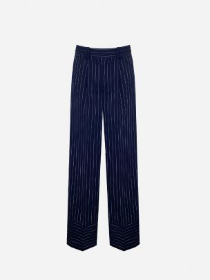 Pleated Striped Trousers with Hem Detail