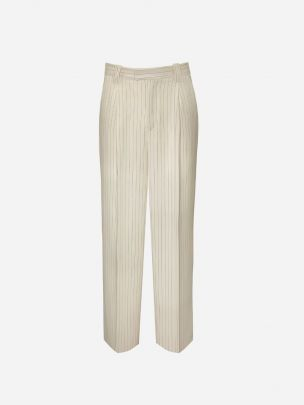 Pleated Beige Striped Trousers