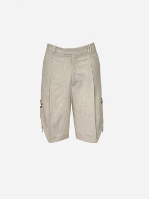 Beige Shorts with Side Detail