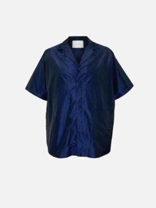 Navy Oversize Shirt with Pocket