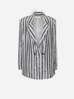 Double Breasted Sequins Oversize Blazer