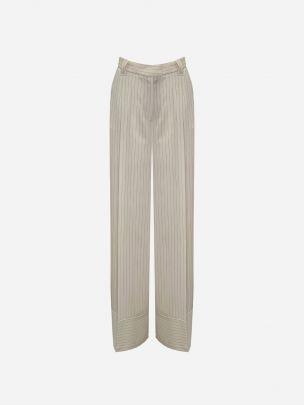 Hem Detailer Beige Trousers