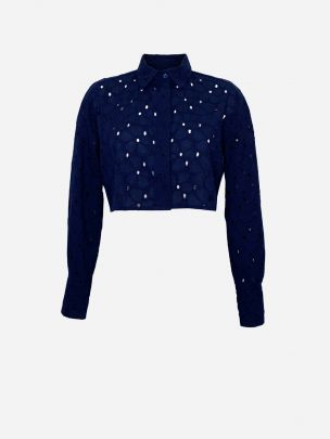 Dark Blue English Embroidery Crop Shirt