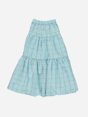 Long Layered Skirt Light Blue & Garnet Checkered