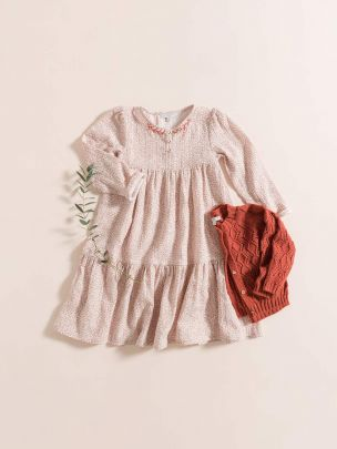 LONG DRESS / PINK FLOWERS GAUZE | Grace Baby and Child