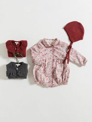 ROMPER / BURGUNDY FLOWERS | Grace Baby and Child