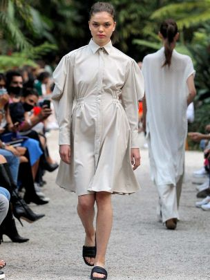 Short Beige Dress with Draped Sleeves