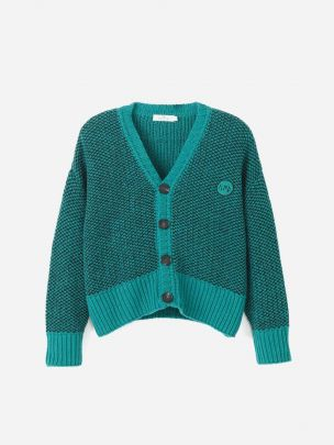 Mélange Knitted Cardigan Green