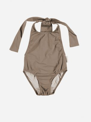 Baby Swimsuit with Back Bow Taupe