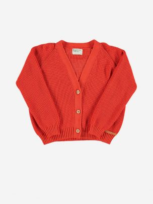 """Knitted V-neck Jacket Red with White """"Cannes"""""""