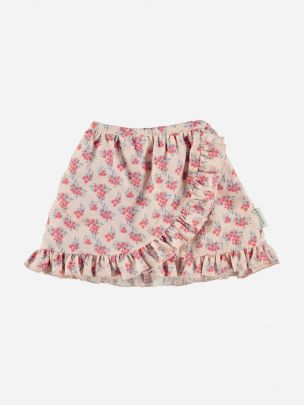 Mini Skirt with Ruffles Pale Pink Flowers