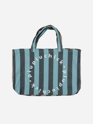 Extra Large Logo Bag Blue with Grey Stripes