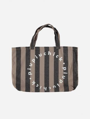 Extra Large Logo Bag Taupe with Grey Stripes