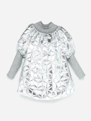 Oversized Puffer Dress Silver