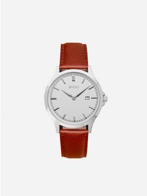 Relógio minimalista pulseira castanha Dicci
