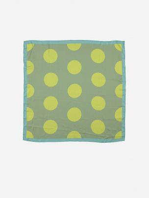 Green Silky Bandana Scarf  with Lemon Circles