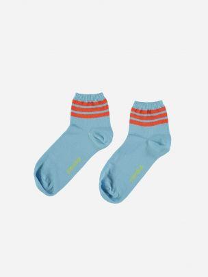 Blue Socks with Garnet Stripes