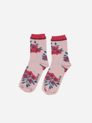 Pale Pink Socks with Flowers