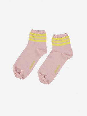 Pink Socks with Yellow Stripes