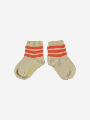 Sand Socks with Garnet Stripes