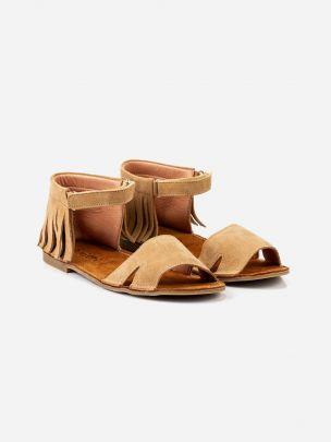 Sandália Camel Franjas com Velcro | Pikitri