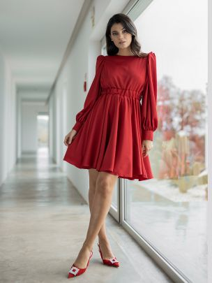 Vestido Vermelho Manga Comprida | Mauî
