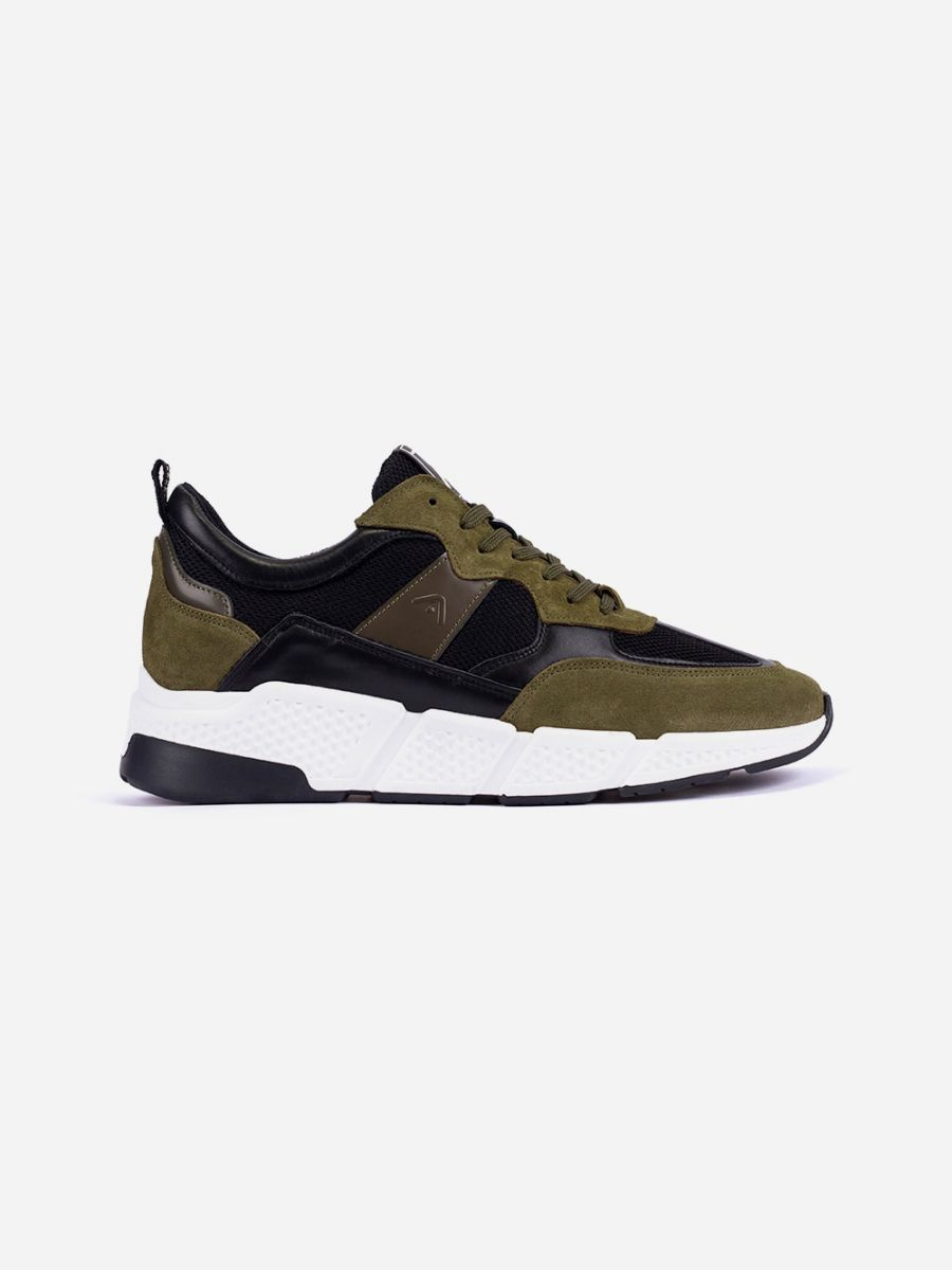 Khaki Sneakers with Contrasting Sole