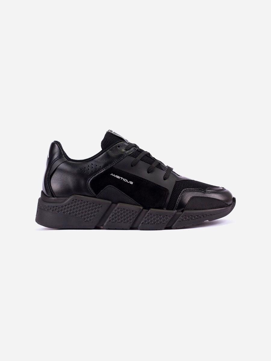 All Black Leather Sneakers