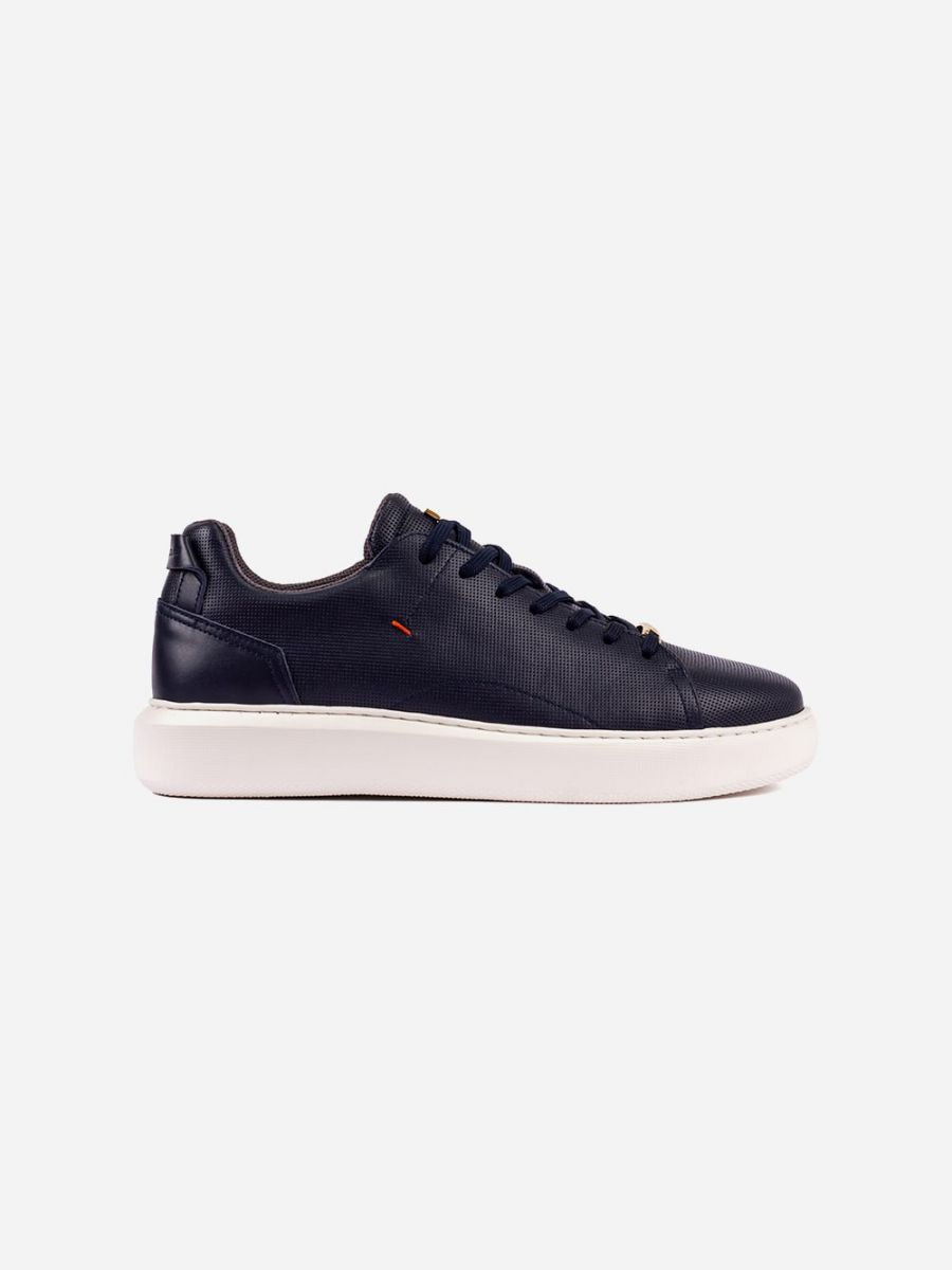 Perforated Blue Leather Sneakers
