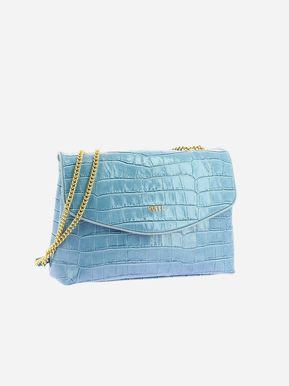 Blue Croco Shoulder Bag