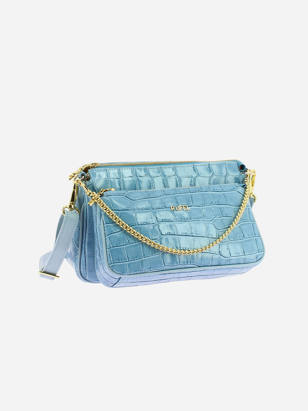 Blue Croco Crossbody Bag