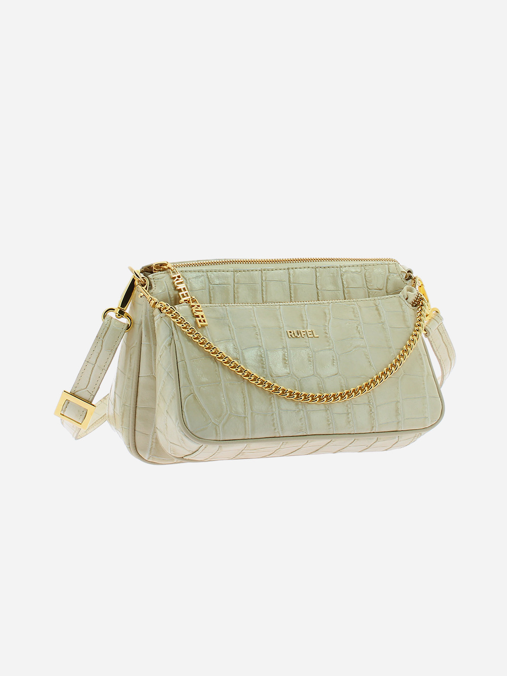 Beige Croco Crossbody Bag
