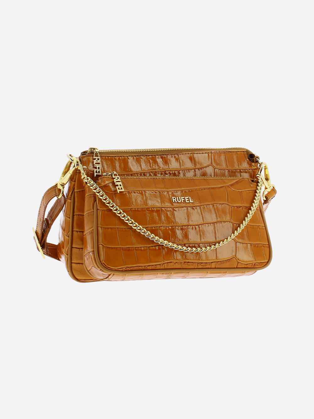 Camel Croco Crossbody Bag