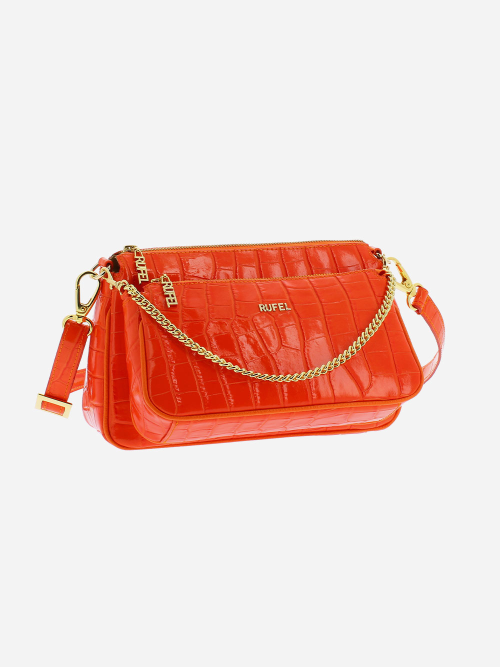 Orange Croco Crossbody Bag