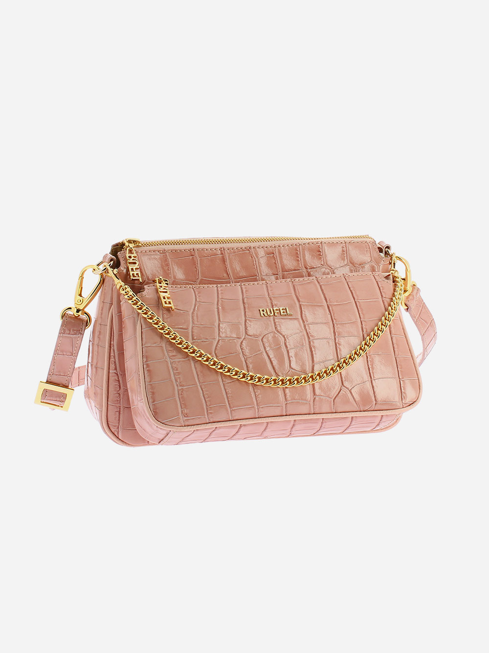 Nude Croco Crossbody Bag
