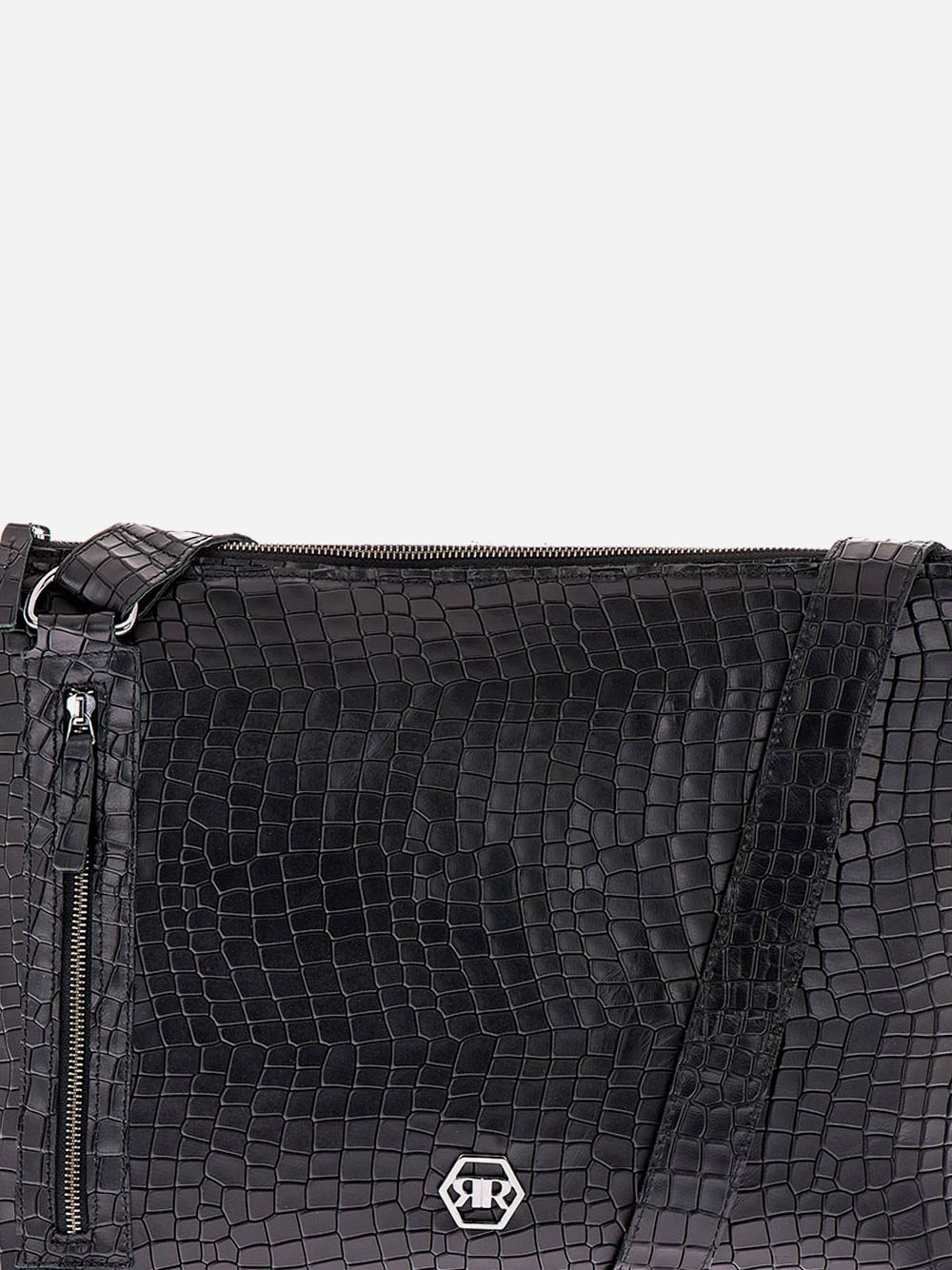 Black Croc Effect Leather Crossbody
