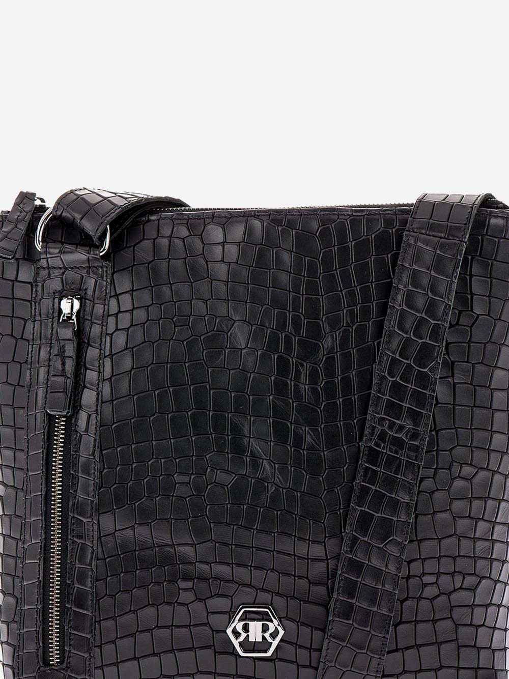Black Croc Effect Squared Crossbody