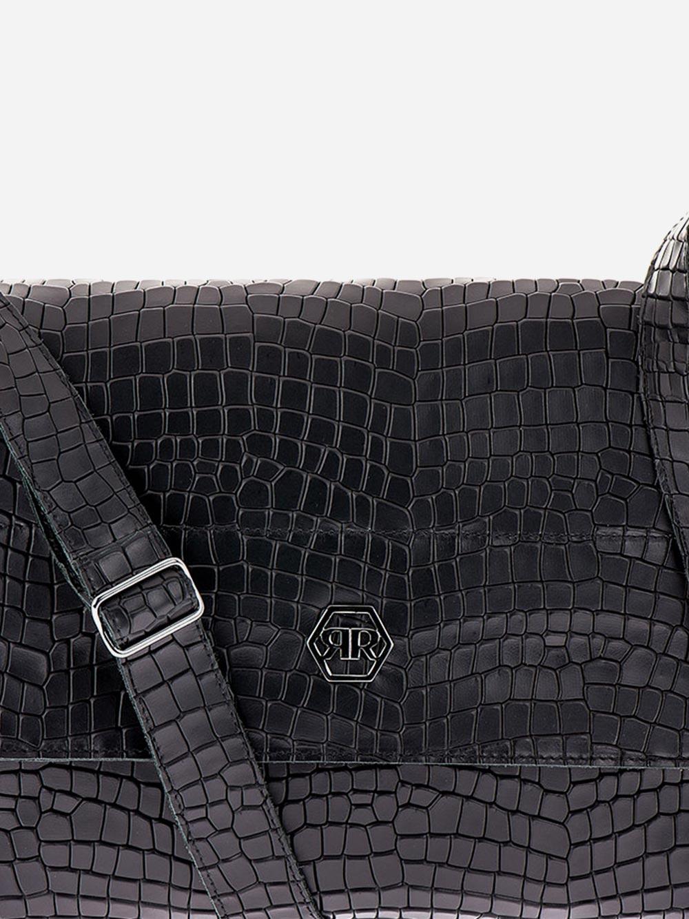Tiracolo Preto Efeito Crocodilo Retangular