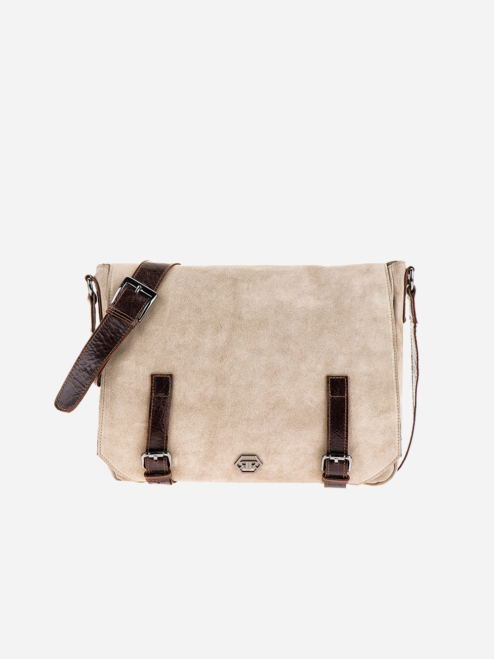 Beige Suede Messenger Bag