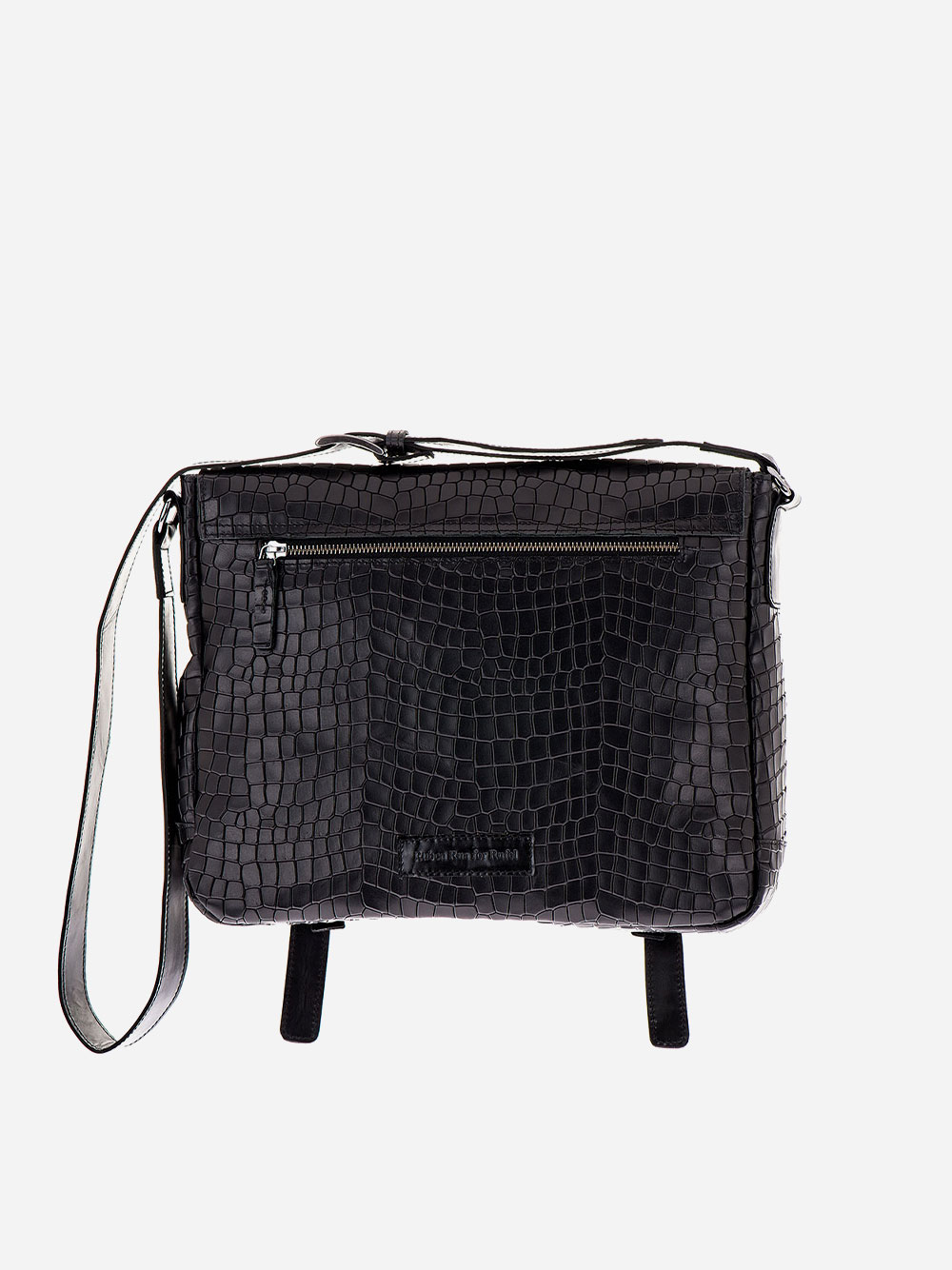 Black Croc Effect Messenger Bag