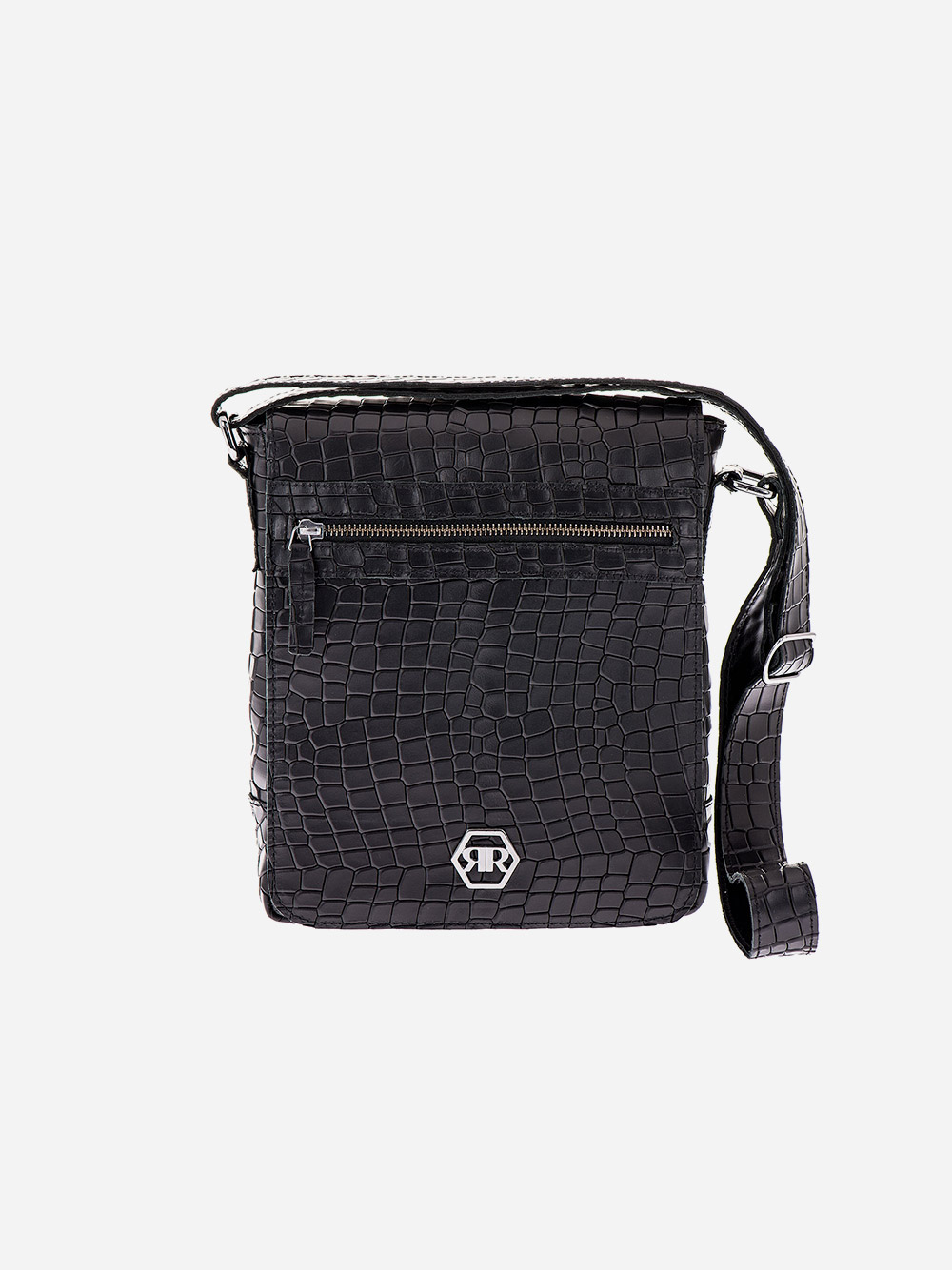 Black Croc Effect Crossbody Bag