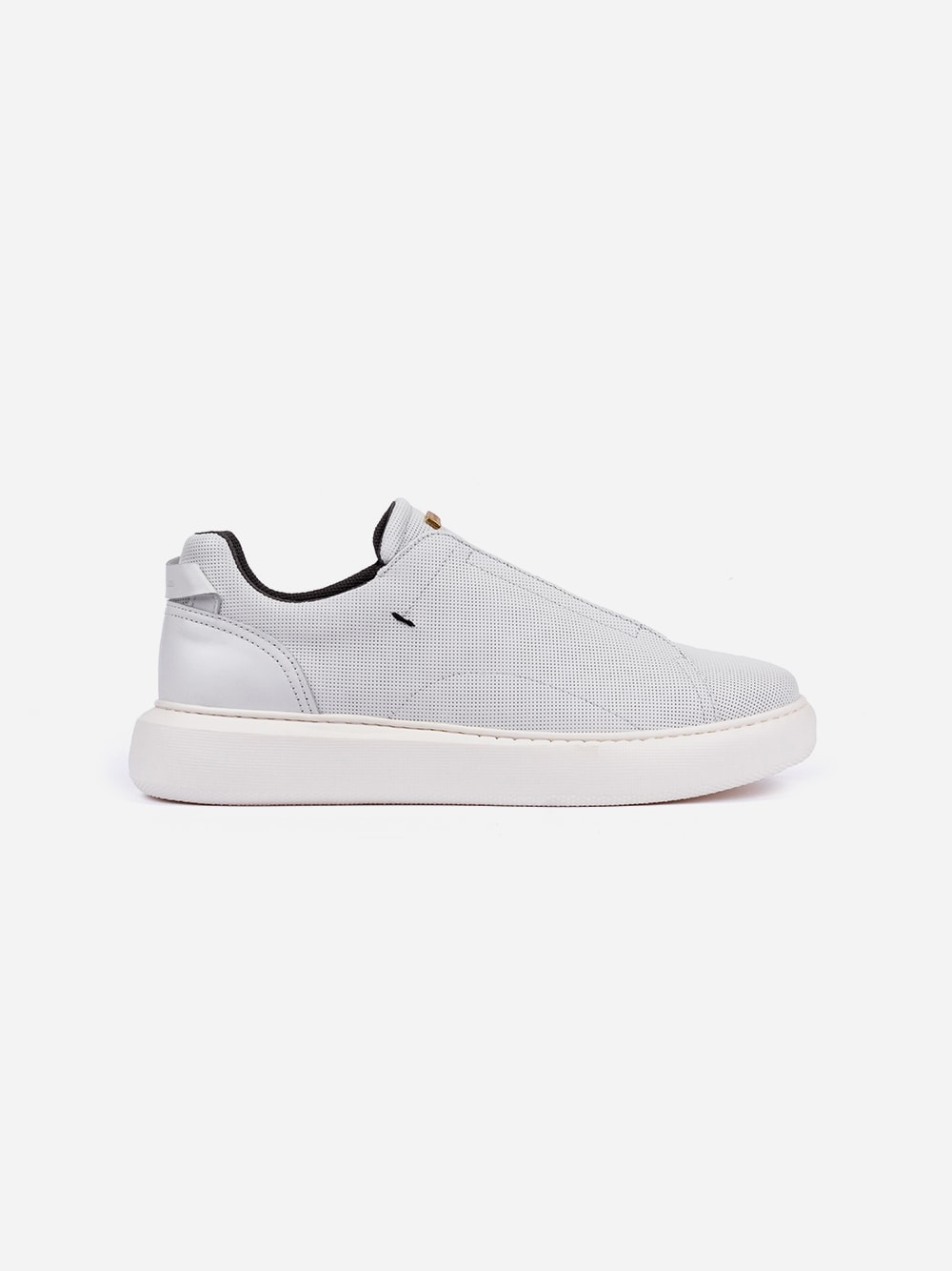 Perforated white slip-on sneakers